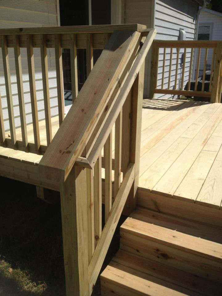 Strong stair railing with smooth finish, deck construction project, Bowie MD