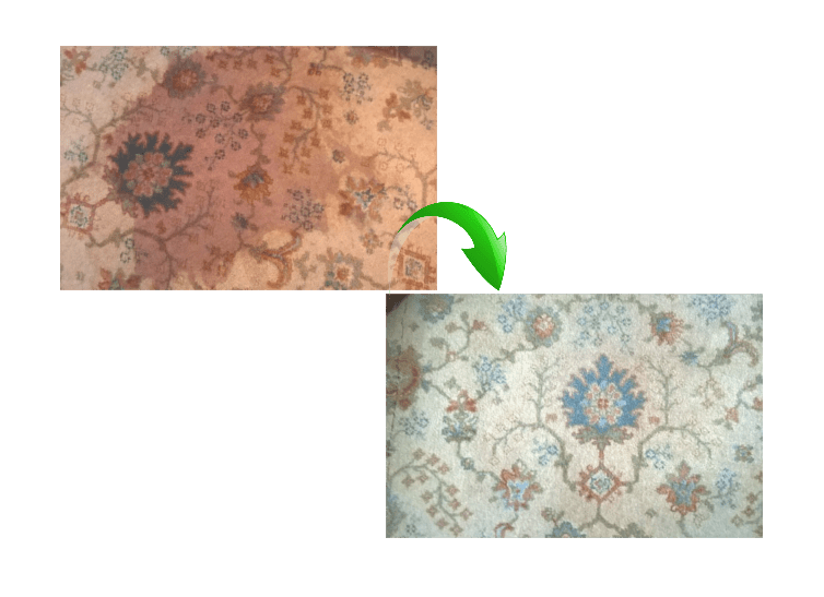 before and after images of a carpet stain