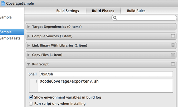 Run Script build phase to export environment variables