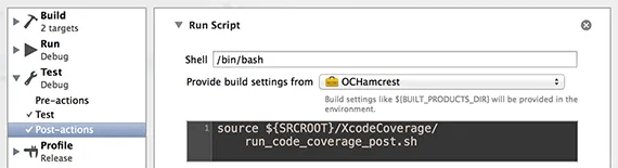 Post-actions to get code coverage after unit tests