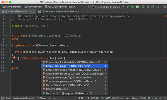 Option-Enter for AppCode intentions