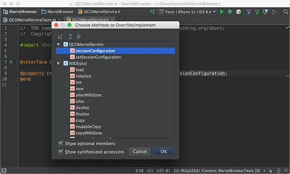 Override method in AppCode
