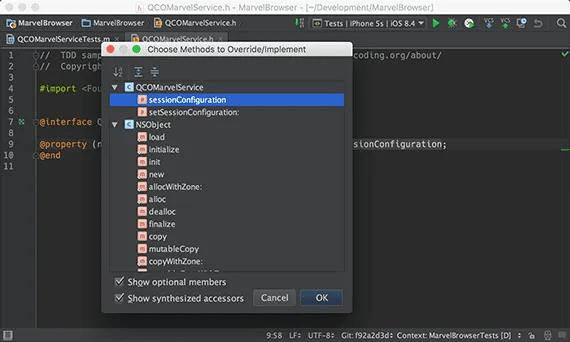 Override method in AppCode