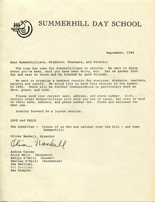 Summerhill Day School Reunion letter