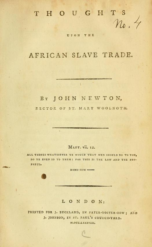 Thoughts Upon the African Slave Trade title page