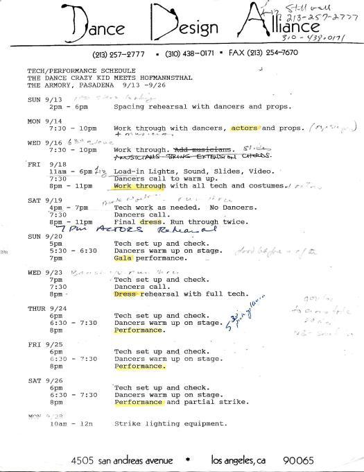 Dance Crazy Kid, tech performance schedule,The Armory, Pasadena, Sept. 1992