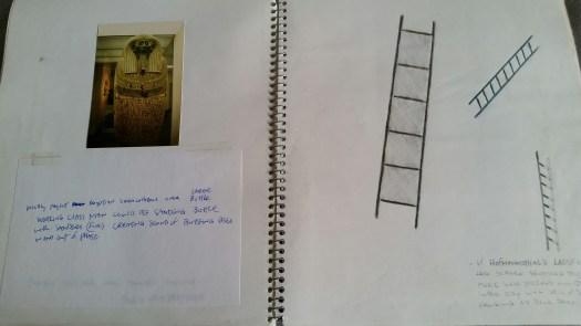 DeGroodt DCK sketchbook, Rudy Perez, Egyptian mummy projection, ladder scene. 1992