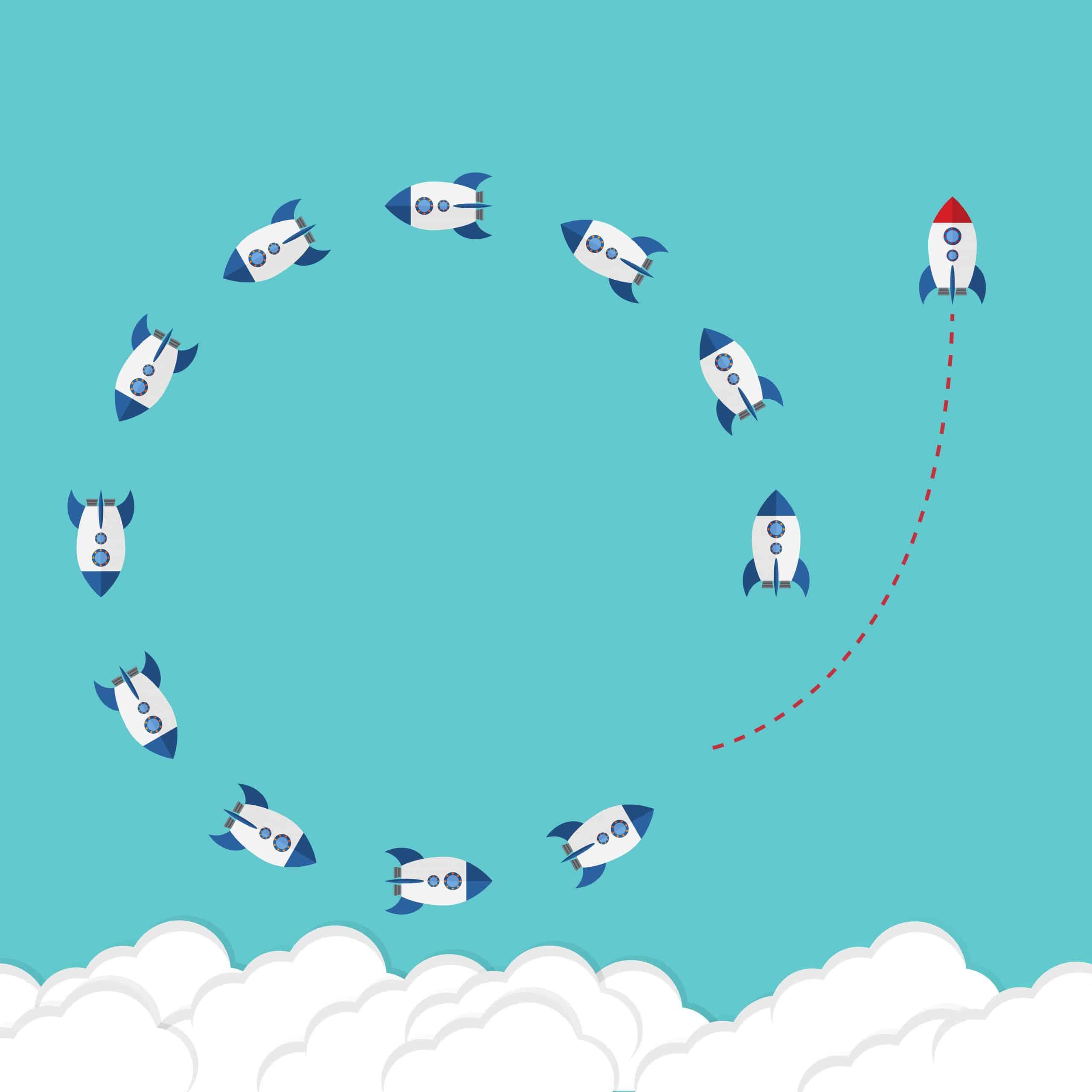 Fusées tournant en rond dans le ciel et l'une d'elles s'échappe pour prendre des risques