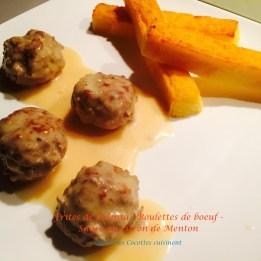 Frites de polenta/ boulettes de boeuf sauce au citron