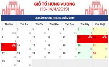 Lịch nghỉ lễ Giỗ tổ Hùng Vương, 30/04 và ngày 01/05 năm 2019