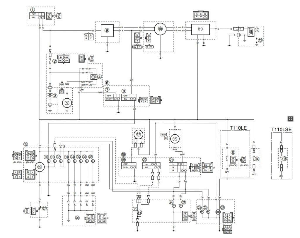 Sơ đồ mạch điện YAMAHA SIRIUS 2010-2012 (Chế hòa khí)