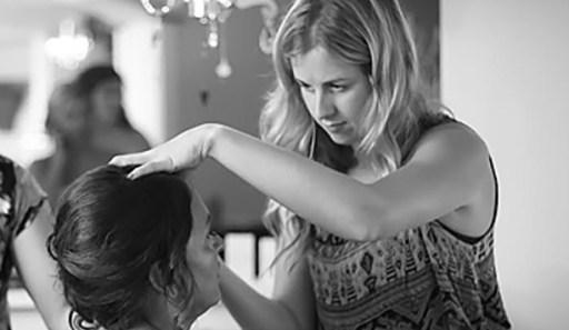 Makeup artist and bride