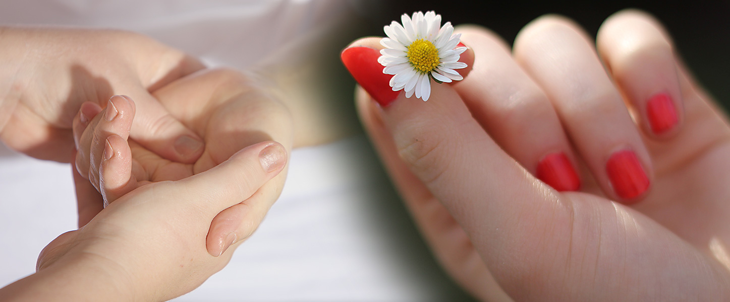 Hand massage and hand painted nails and flower
