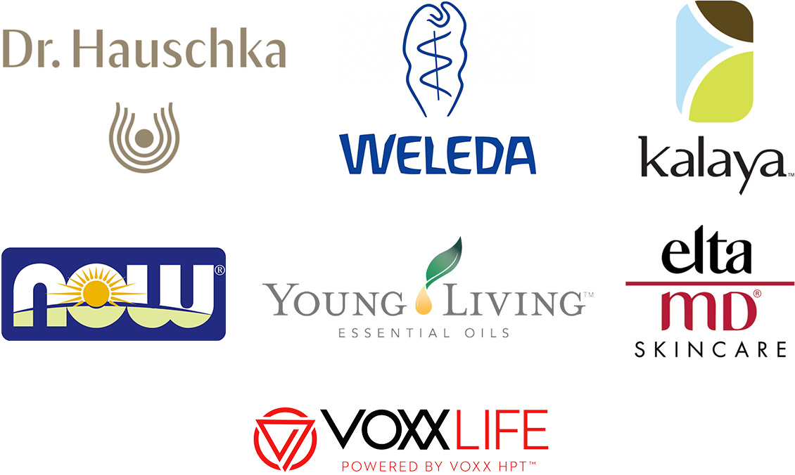 Dr. Hauschka, Weleda, Kalaya, Now, Young Living Essential Oils, Elta MD Skincare, and Voxxlife logos