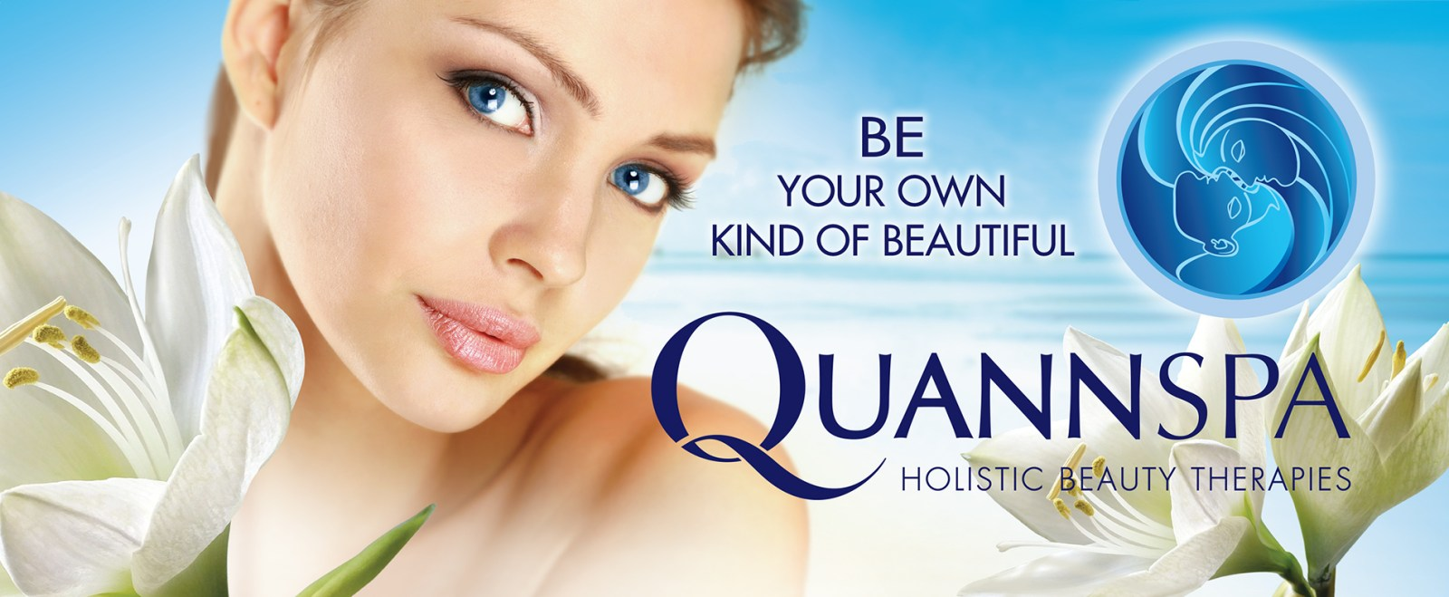 QuannSpa logo and model with lotuses