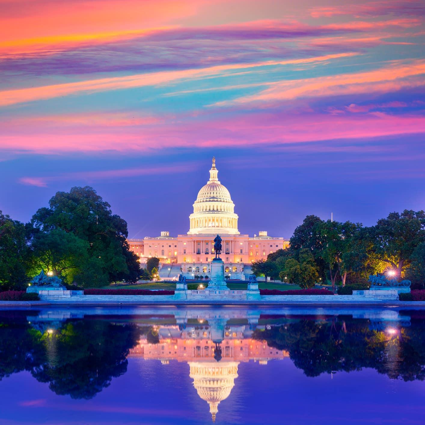 Capitol Building Sunset Washington Dc Congress