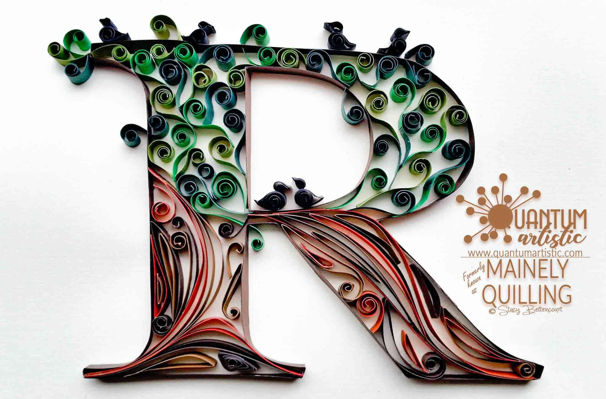 Quilled Tree Letter R Monogram