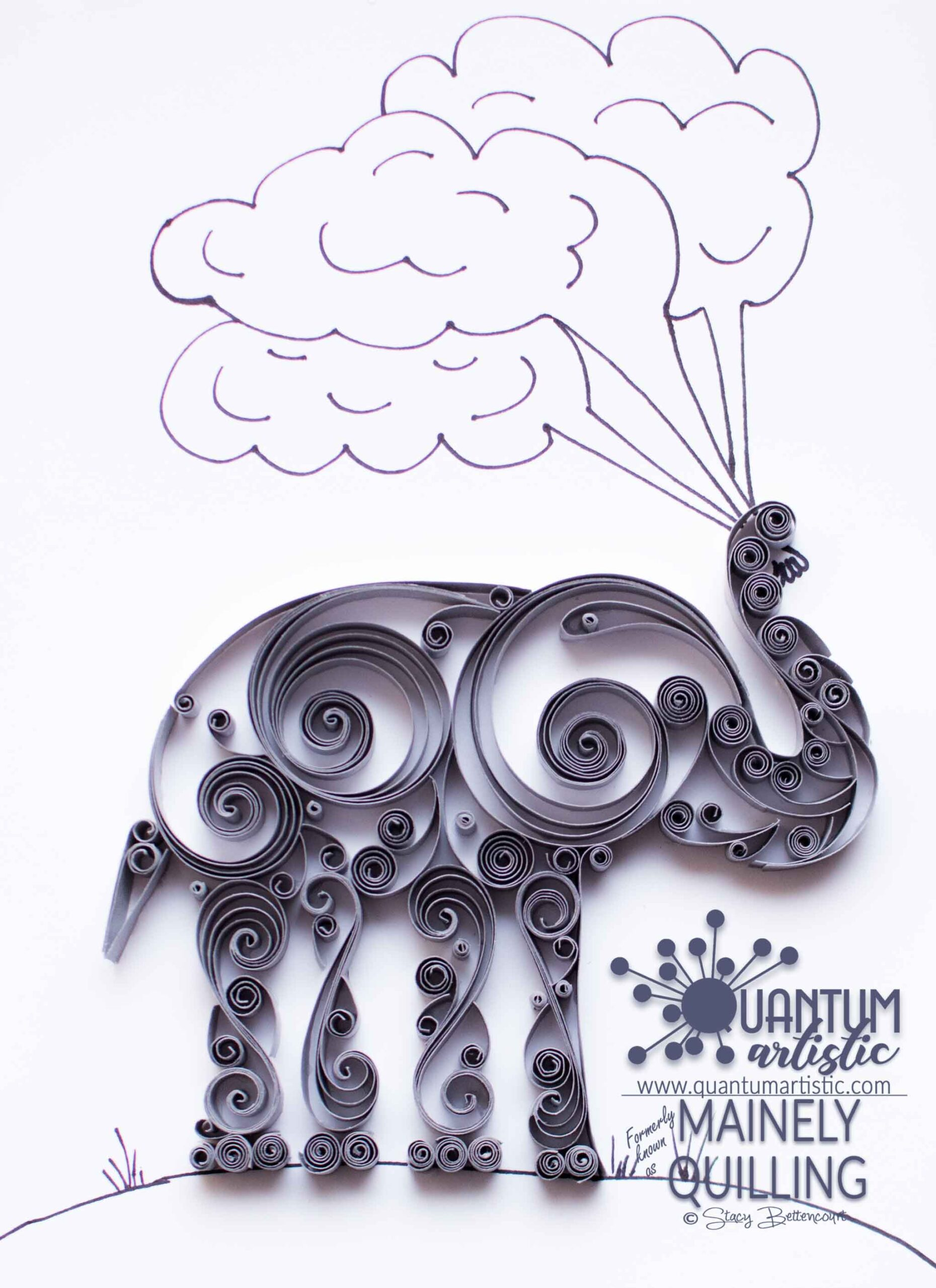 Paper Quilled Scrollwork Elephant