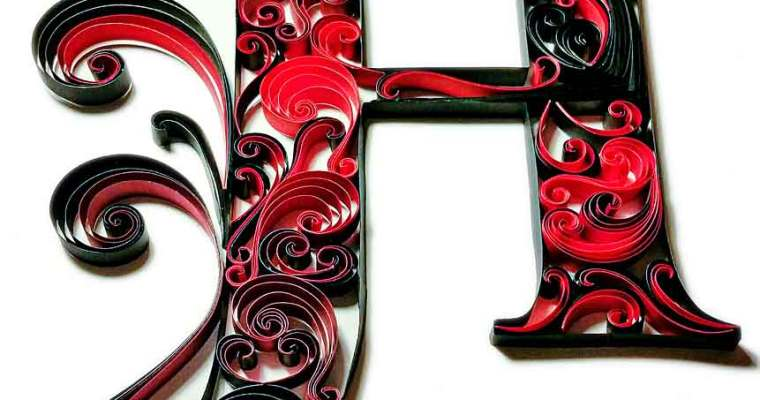 Fancy Red & Black Monogram | Letter H