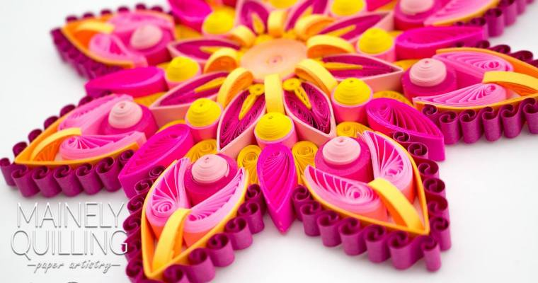 Quilled Pink and Yellow Mandala