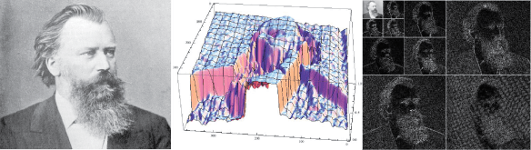 Brahms is a cool dude. Brahms as a height map--cliffs=Gibbs phenomena=oh no! First three levels of Brahms wavelets.