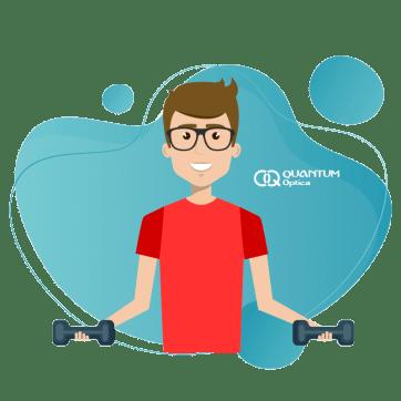 Quantum - 3 consejos para proteger tus lentes - hombre con pesas