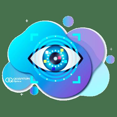 Quantum - ojo con un fondo color azul bionico