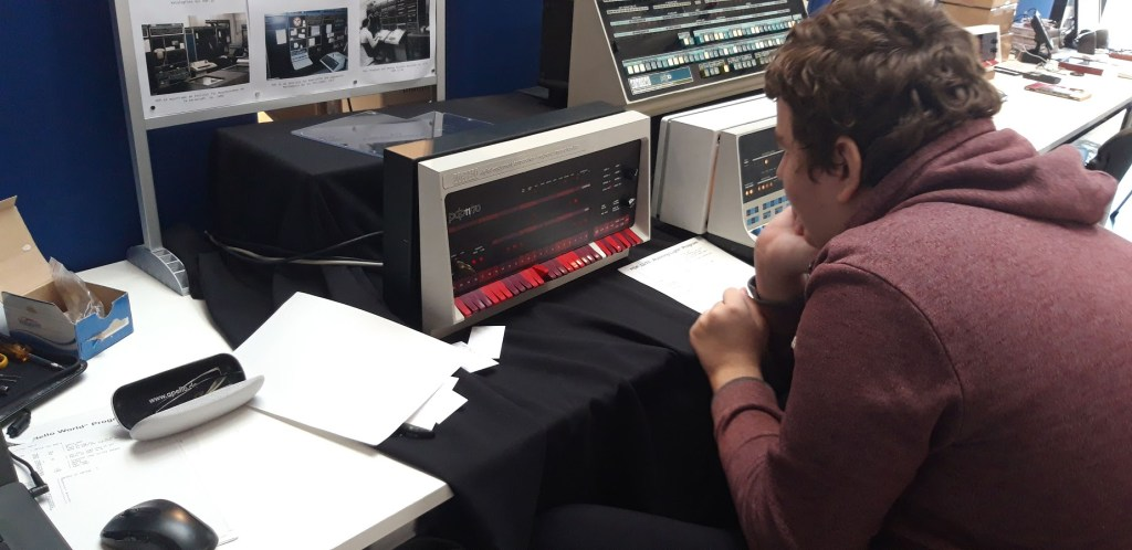 A recreation of an early DEC PDP11/70 machine which is programmed with switches. Output is to LED's. A student is getting to grips with programming using these very basic, but fundamental methodology - which has never changed until now - with the advent of the Quantum Computer.