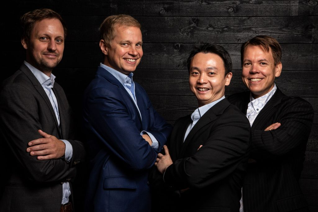 Founders: From left to right: Dr. Jan Goetz, CEO, Prof. Mikko Möttönen, Chief scientist,  Dr. Kuan Yen Tan, CTO,  Dr. Juha Vartiainen, COO
