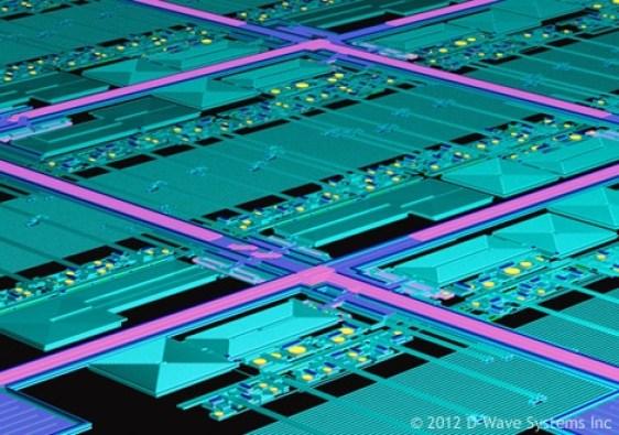D-wave's 128 qubit array from 2012. Now D-wave can address 2000 qubits using the same principles. Each qubit is a superconducting qubit.