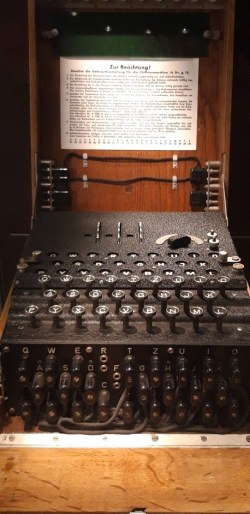 The WW2 German Enigma Machine, used for encoding messages between divisions. The work at Bletchley Park broke the encryption protocols.