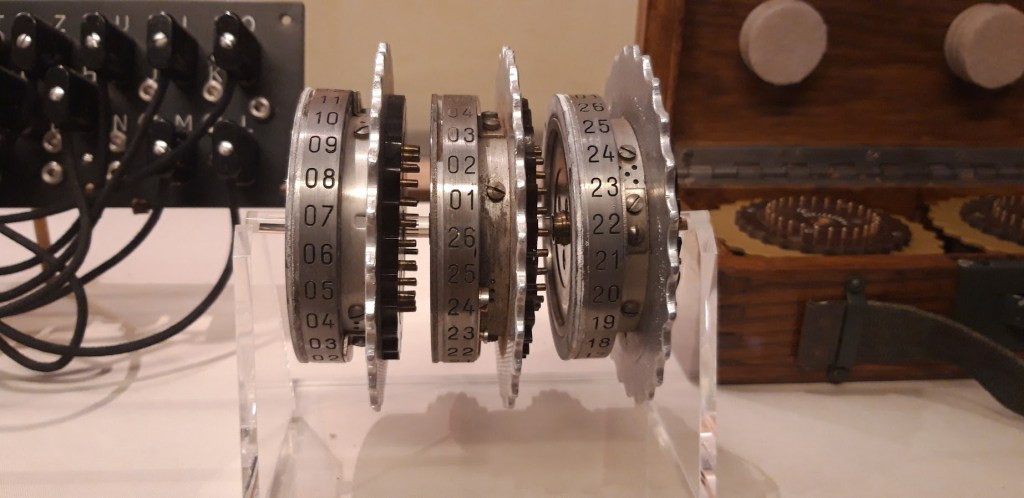 The rotor wheels and plug board from one of the Enigma machines. The Bombe device at BP aimed to recreate the coding of Nazi messages.