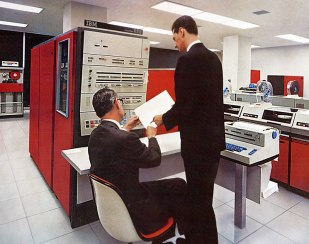 Blast from the past. IBM's System 360. Room sized machine. To learn more about the very interesting history from IBM development link. Image source.