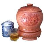 Bình Trà Gỗ Dừa Chạm Thủ Công Tam Đa Phúc Lộc Thọ Và Bình Trà 700 – 1200ml – [Quà Quê Dừa]