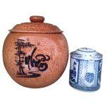 Bình Trà Gỗ Dừa Gọn Đẹp Khắc Hoa Văn Lồng Chữ Nhẫn Và Bình Trà 700 – 950ml – [Quà Quê Dừa]