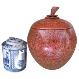 Bộ Bình Trà Gỗ Dừa Gọn Đẹp Xuất Khẩu Cuốn Hoa Mai Và Bình Trà 700 – 950ml – [Quà Quê Dừa]