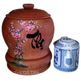 Bình Trà Gỗ Dừa Hoa Văn Lồng Chữ Thọ Và Bình Trà 700 – 950ml – [Quà Quê Dừa]