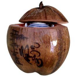Vỏ Ủ Bình Trà Trái Dừa Hoa Văn Lồng Chữ Nhẫn Và Bình Trà 400 – 950ml – [Quà Quê Dừa]