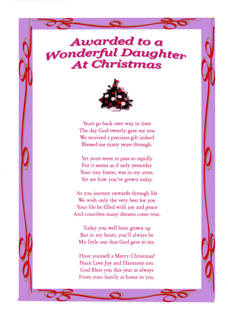 Daughter Christmas Laminated Poem Gifts
