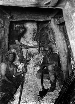 Underground with three men whom Divis knew well: Mine manager Tas Hogg, with the shovel, shift boss Tom Beckwith, holding a pick, and union president SP Williams, with a miner's drill and bowyanged trousers. The undoubted star of the show is the gold-bearing quartz reef, which did not need the added illumination of the candle at the centre to make it gleam.