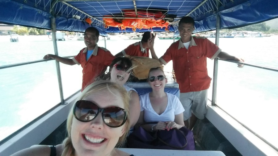 """""""Selfie"""" on the hotel transfer boat and lovely Mandarin staff!"""