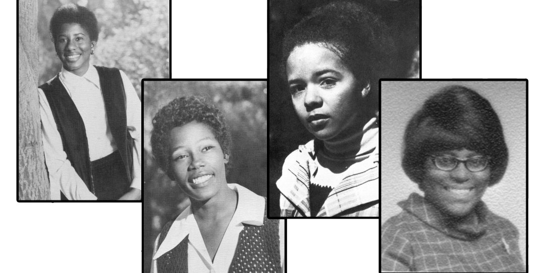 Yearbook photos of the four Black alumnae who participated in the Quarterly's roundtable.