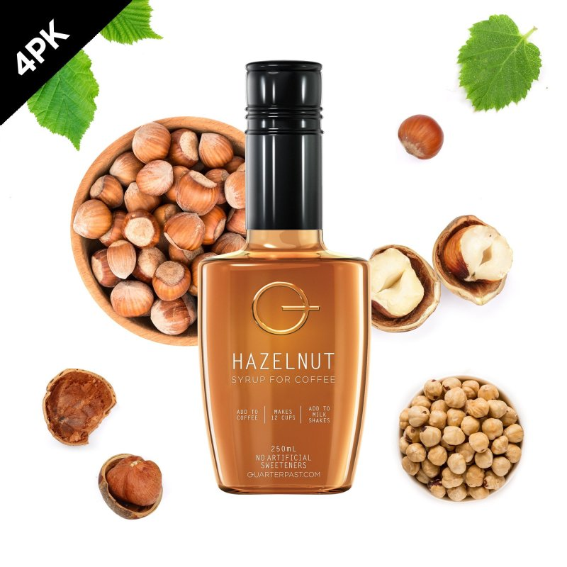QUARTERPAST Hazelnut 250mL bottle with real hazelnut ingredients in the background