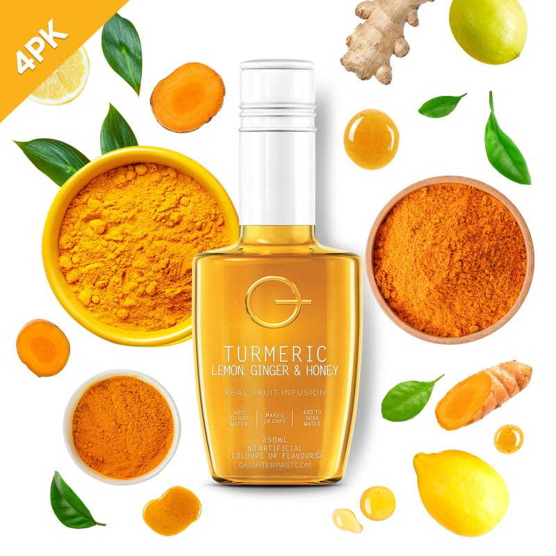 QUARTERPAST Turmeric Lemon Ginger & Honey Infusion 250mL bottle with real ingredients in the background