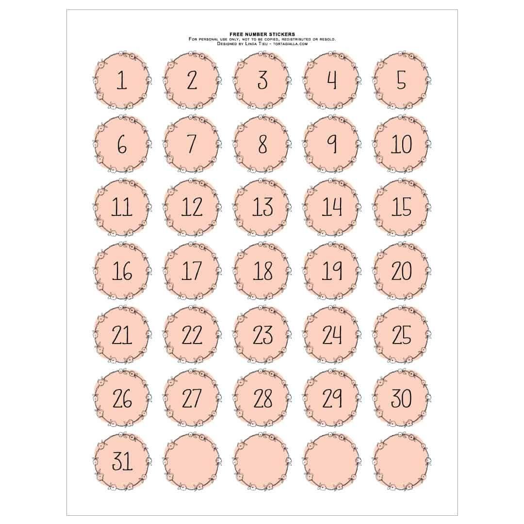 Best Calendar Numbers Printable 1 31