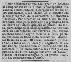 Campeonato de la Unión Velopédica española pasa por Quart (7 junio de 1903)