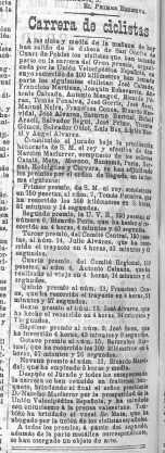 Gran premio de la Unión Velopédica española pasa por Quart (15 mayo 1904)