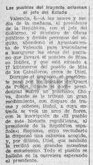 Noticia sobre el pinchazo del coche del presidente de la República, Alcalá Zamora en Quart (7 abril 1932)