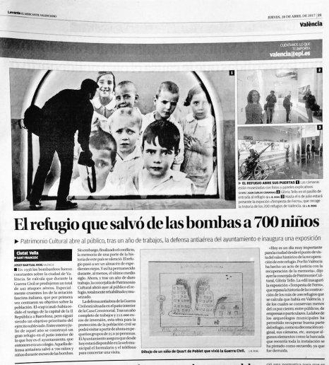 El diari Levante, precisament publicava el dibuix del nen de Villa Amparo, que s'exposa a Tempesta de Ferro