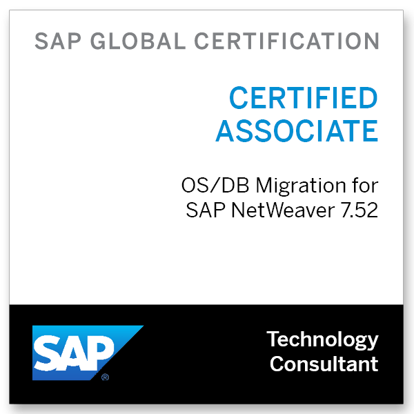 SAP Certified Technology Associate - OS/DB Migration for SAP NetWeaver 7.52